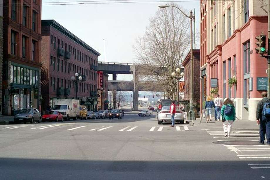 Now: View to the west from Yesler Way at First Avenue. (Photo provided by WSDOT)