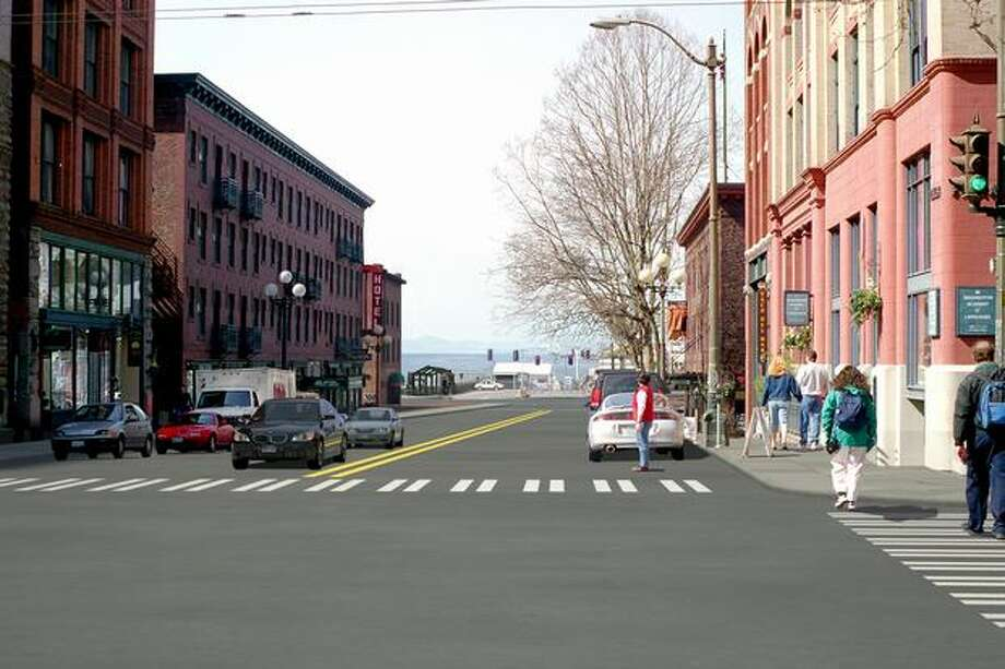 Future: View to the west from Yesler Way at First Avenue. (Photo provided by WSDOT)