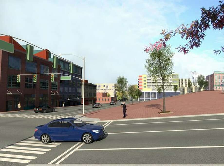 Future: View to the north up Western Avenue from Bell Street. (Photo provided by WSDOT)
