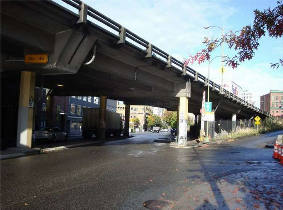 Now: View to the north up Western Avenue from Bell Street. (Photo provided by WSDOT)