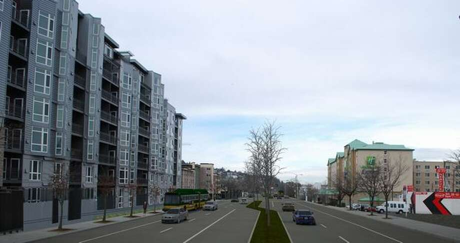 Future: View to the north up Aurora Avenue (Highway 99) from Denny Way. (Photo provided by WSDOT)