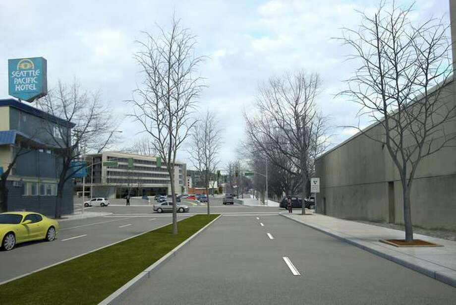 Future: View to the north on Aurora Avenue (Highway 99) from south of Harrison Street. (Photo provided by WSDOT)