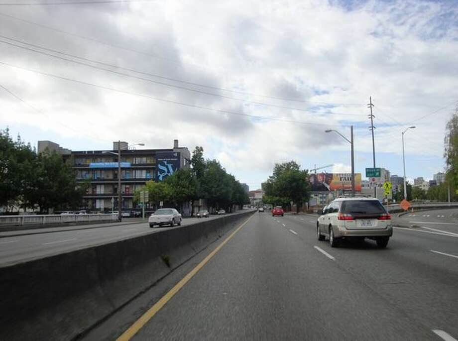 Now: View to the south down Aurora Avenue (Highway 99) from Mercer Street. (Photo provided by WSDOT)