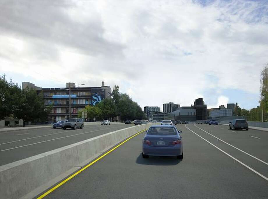 Future: View to the south down Aurora Avenue (Highway 99) from Mercer Street. (Photo provided by WSDOT)