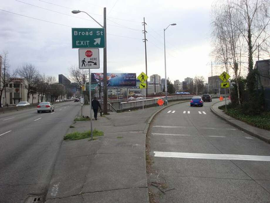 Now: View to the south on Aurora Avenue (Highway 99) showing Broad Street exit. (Photo provided by WSDOT)