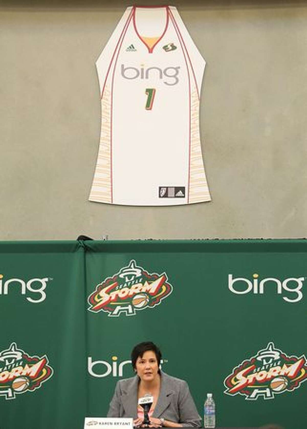 Seattle Storm CEO Karen Bryant announces a sponsorship deal with Microsoft on April 21, 2010, at the Ranier Vista Boys & Girls Club in Seattle. The Storm's new jersey features the Bing logo.