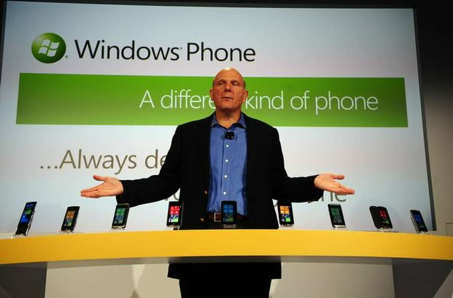 Microsoft has misfired several times in the smartphone wars but seems to have gotten some traction starting with Windows Phone 7, which CEO Steve Ballmer unveiled in New York on October 11, 2010. Photo: Getty Images
