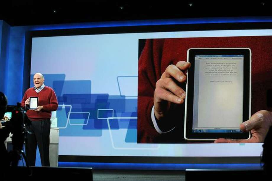 Ballmer shows the new HP Slate computer and e-reader during his keynote address at CES 2010 on January 6, 2010, in Las Vegas. Photo: Getty Images
