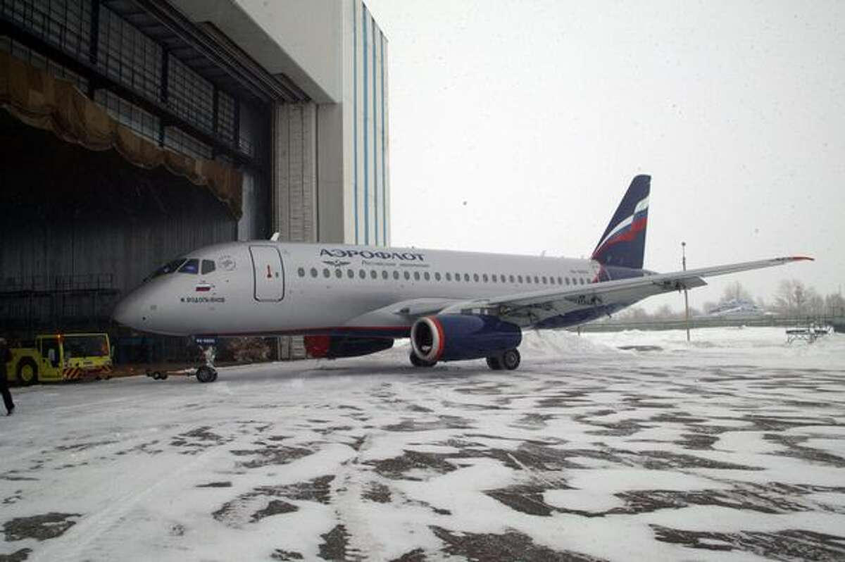 A Sukhoi Superjet in Aeroflot livery is shown in Amur, Russia. (Sukhoi)