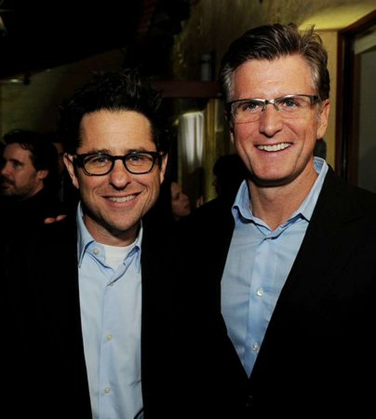 Producer J.J. Abrams (L) and Fox Entertainment President Kevin Reilly pose at Fox TV's TCA All-Star Party at Villa Sorriso in Pasadena, California.