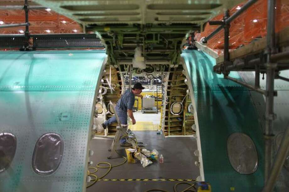 A section of the 747-8 Intercontinental is shown during a tour of the Boeing 747-8 Intercontinental and Freighter assembly line on Saturday, February 12, 2011 at the Boeing plant in Everett. Photo: Joshua Trujillo, Seattlepi.com