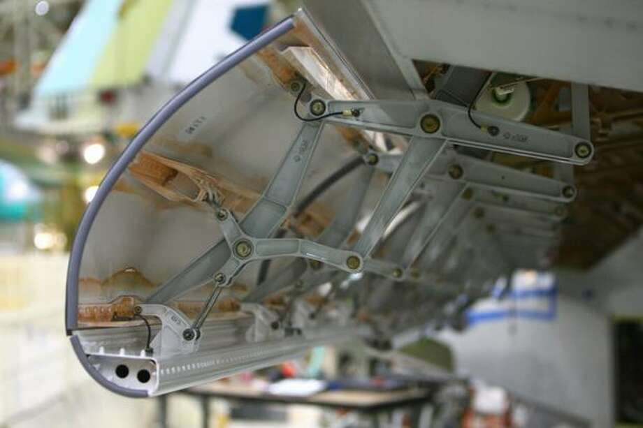 The leading edge of a 747-8 wing is shown during a tour of the Boeing 747-8 Intercontinental and Freighter assembly line on Saturday, February 12, 2011 at the Boeing plant in Everett. Photo: Joshua Trujillo, Seattlepi.com