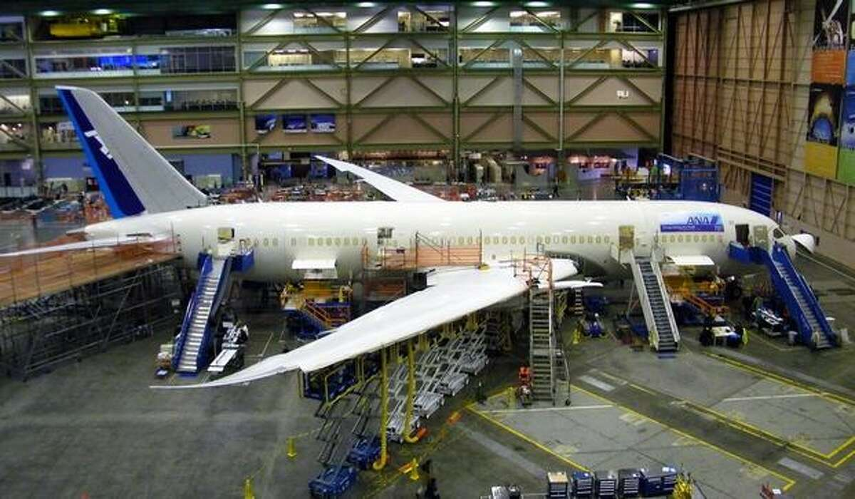 The 12th Boeing 787 Dreamliner for launch customer All Nippon Airways is shown in assembly at Boeing's wide-body plant in Everett, Wash.