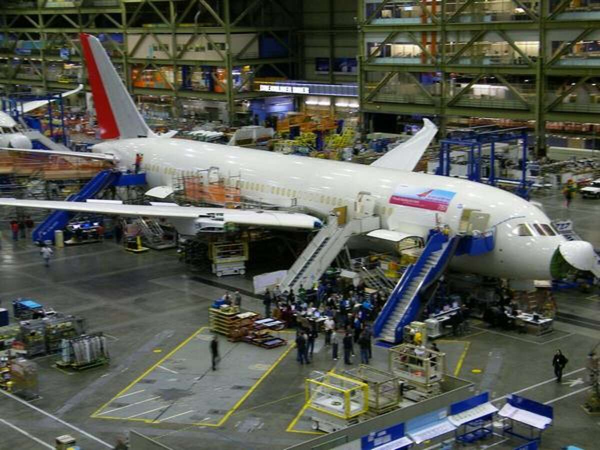 The sixth Boeing 787 Dreamliner for Air India is shown in assembly at Boeing's wide-body plant in Everett, Wash.