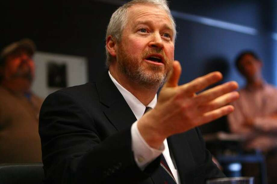 Seattle Mayor Mike McGinn addresses the public. Photo: Joshua Trujillo, Seattlepi.com