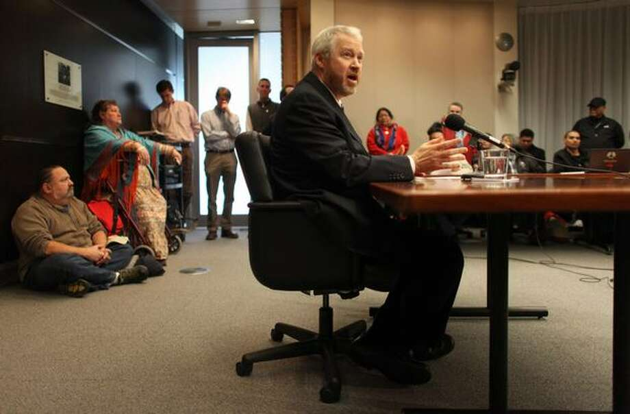 Seattle Mayor Mike McGinn addresses the public after it was announced earlier in the day that Seattle Police Officer Ian Birk will not face prosecution. Photo: Joshua Trujillo, Seattlepi.com
