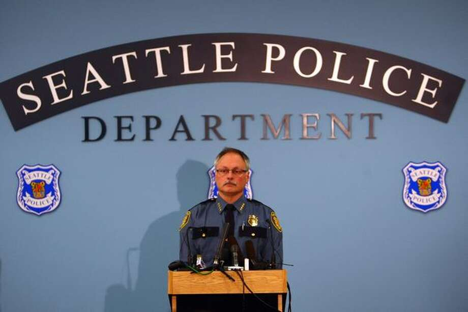Seattle Police Chief John Diaz addresses reporters at Seattle Police Headquarters regarding Officer Ian Birk during a press conference on Wednesday. Photo: Joshua Trujillo, Seattlepi.com