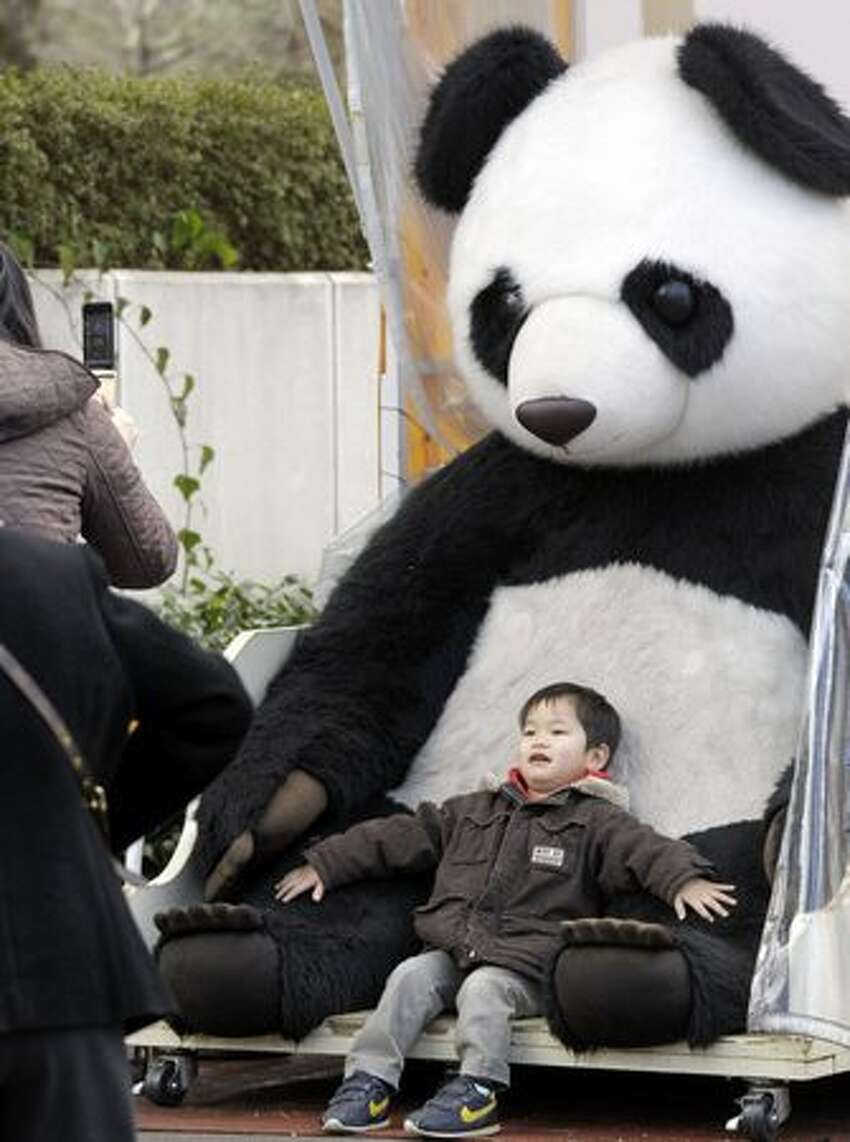 A mother takes a photo of a her son posing with a stuffed giant panda at Tokyo's Ueno Zoo Friday, Feb. 18, 2011. People are getting ready to welcome two giant pandas arriving Monday, Feb. 21 to the zoo from China on a 10-year loan, the latest installment of panda diplomacy aimed at warming the two countries' often-strained relations. (AP Photo/Koji Sasahara)