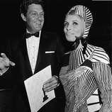 1967: Married actors Robert Stack (1919 - 2003) and Rosemarie Stack arrive for the 39th annual Academy Awards in Los Angeles.