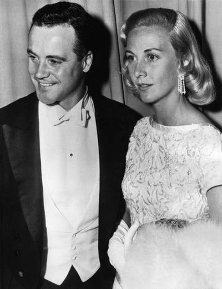 1956: Actor Jack Lemmon (1925 - 2001) and his wife Cynthia Stone (1926 - 1988) arriving at the Pantages Theatre in Hollywood for the 28th annual Academy Awards presentation. Photo: Getty Images