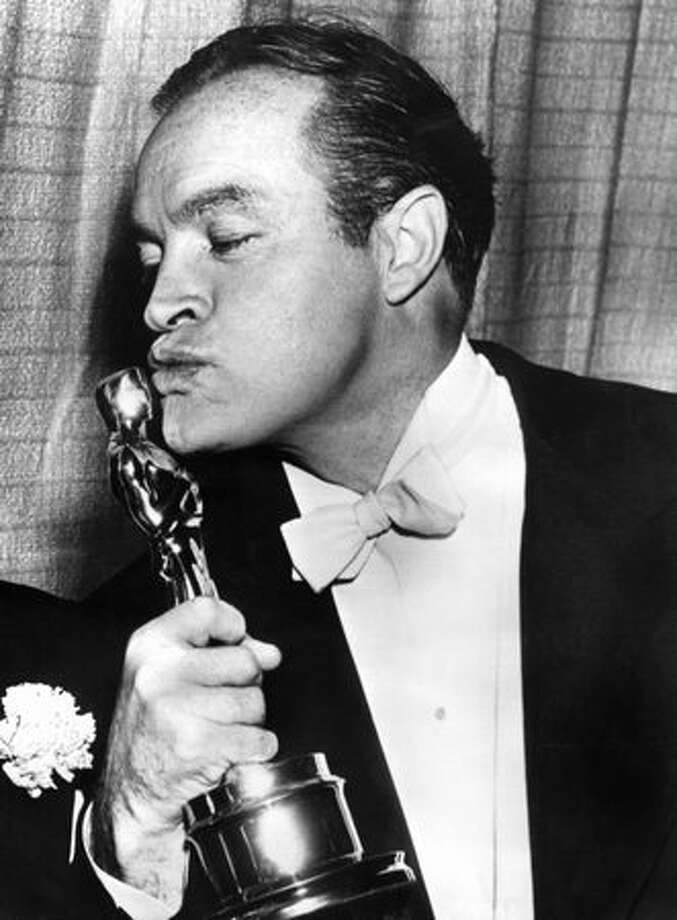 1953: Entertainer Bob Hope kissing the Oscar he received for Special Honors at the Academy Awards show in Hollywood. Photo: Getty Images