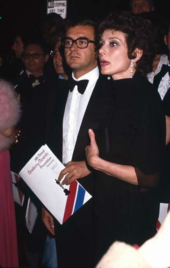 1976: Actress Audrey Hepburn (1929 - 1993) with her second husband, Italian psychiatrist Andrea Dotti (1969 - 1982), at the 48th annual Acedemy Awards ceremony at the Dorothy Chandler Pavilion, Los Angeles. Photo: Getty Images