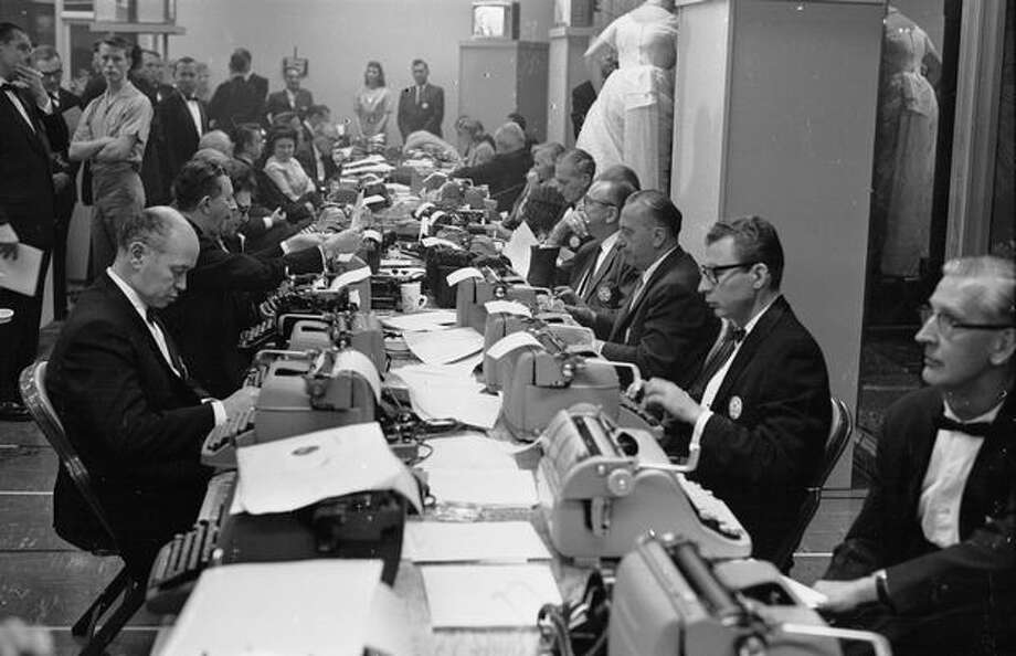 1962: Journalists typing up their reports in the press room at the Oscars award ceremony in Hollywood. Photo: Getty Images