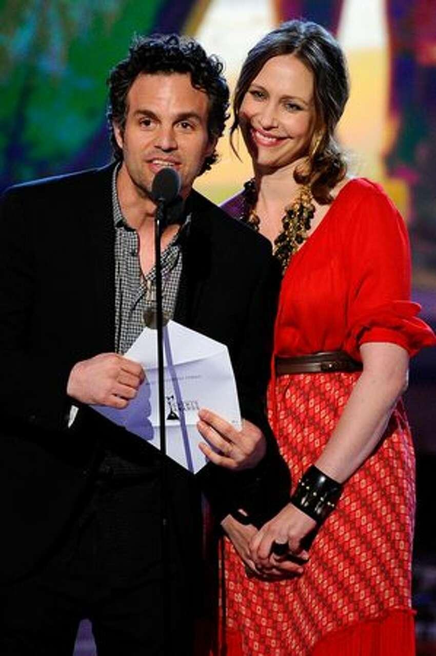 Actors Mark Ruffalo and Vera Farmiga present onstage.
