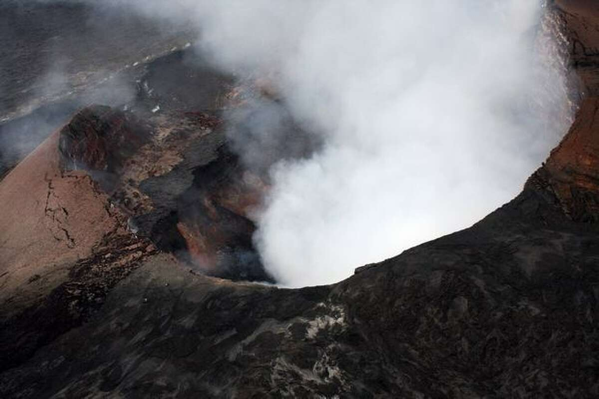 The Big Island of Hawaii's Pu'u O'o crater is seen on Sunday. The crater floor collapsed on Saturday causing new eruptions along the east rift zone. (AP Photo/Tim Wright)