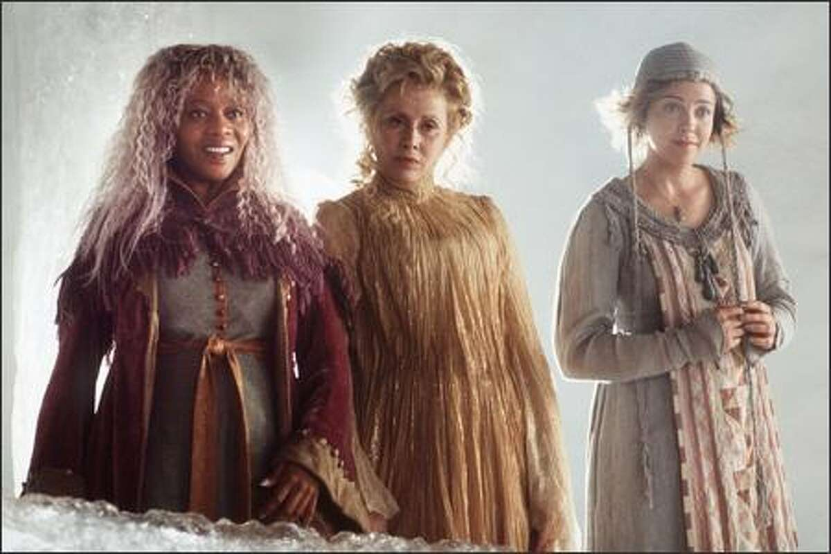 Guiding the kids on their journey are the engimatic Mrs. Whatsit (Alfre Woodard), Mrs. Which (Kate Nelligan) and Mrs. Who (Alison Elliott), three women who are far more than they first appear.