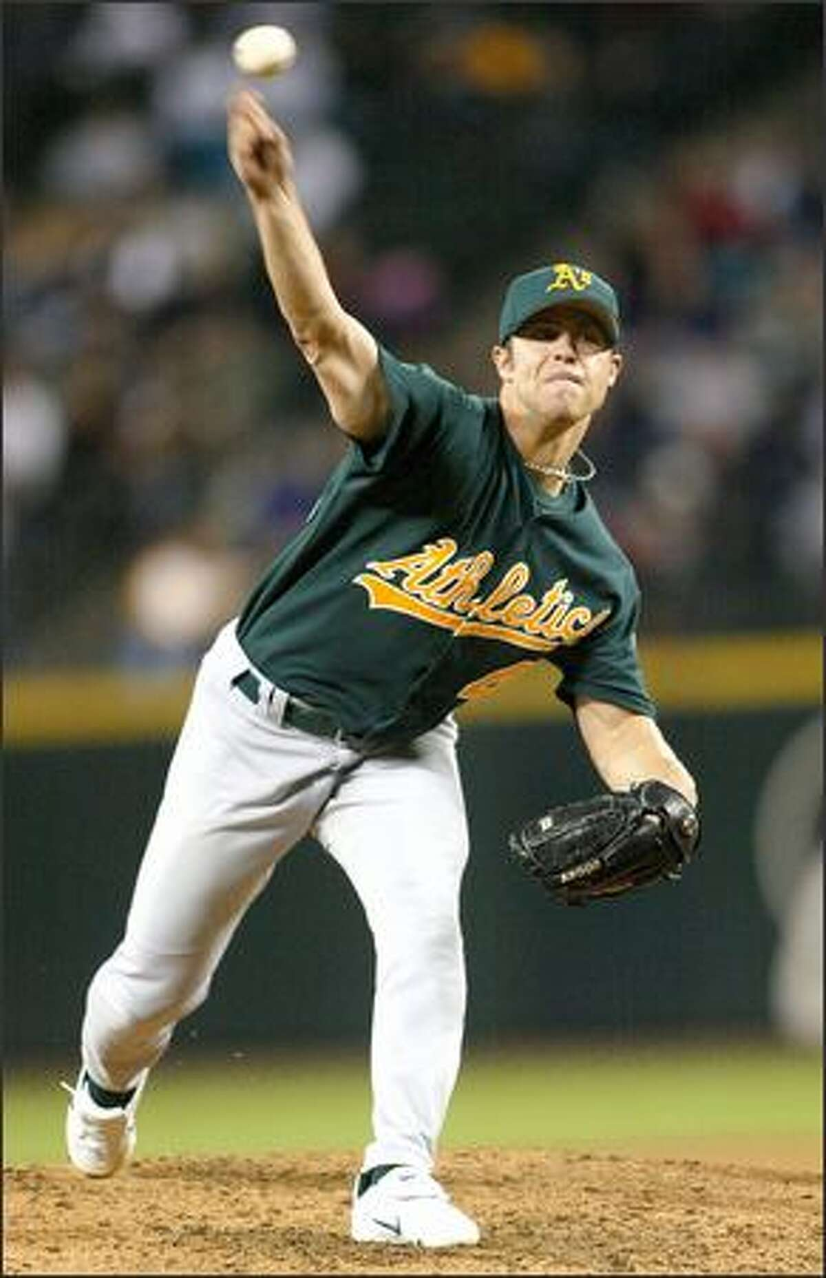 Oakland's Rich Harden struck out nine and allowed only three hits in seven innings of work.