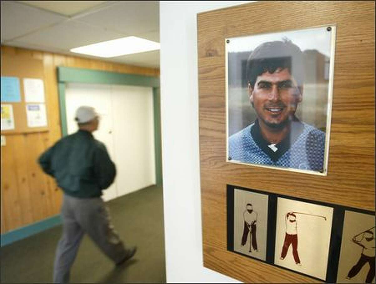 A photograph and plaque of Fred Couples greets golfers as they enter the clubhouse. Couples frequented the course as a boy.