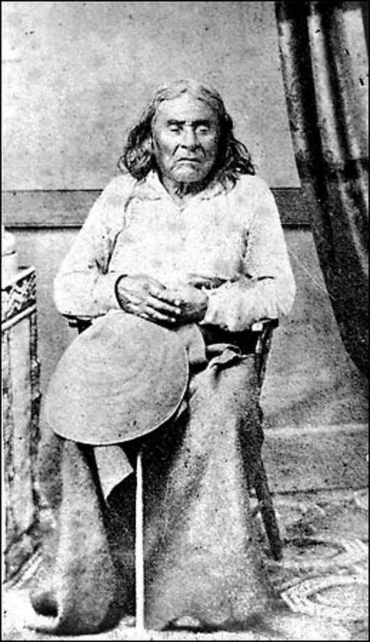 City namesake, 1860s: As the Denny party huddled through the winter of 1851-52 on Alki Point, a band of Duwamish led by Chief Seattle helped the settlers find food and shelter. In 1852, Chief Seattle (178?-1866) persuaded Doc Maynard to move his store from Nisqually to the new village of Duwumps. Maynard, in turn, got the settlers to name their new town after the chief. Photo: Seattle Post-Intelligencer