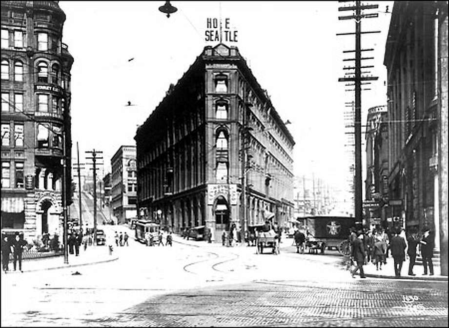 Seattle Hotel, 1897: Built in the aftermath of the Seattle Fire on a triangle at Second Avenue and Yesler, the Seattle Hotel was the city's premier hotel. The building is shown here in 1897 on the eve of the Yukon gold rush. For years the hotel was the gala social center of the growing city. Its demolition in 1961 sparked a wave of preservation in Pioneer Square. Photo: Seattle Post-Intelligencer