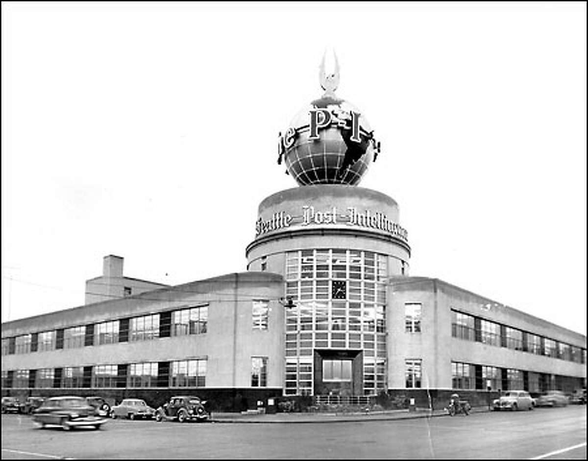 Seattle Post Intelligencer 1948: In 1948, the Seattle Post Intelligencer moved from dingy downtown quarters to a state-of-the-art newspaper plant at Sixth Avenue and Wall Street in the Denny Regrade. A large neon sign, the P-I's landmark globe, capped the building.