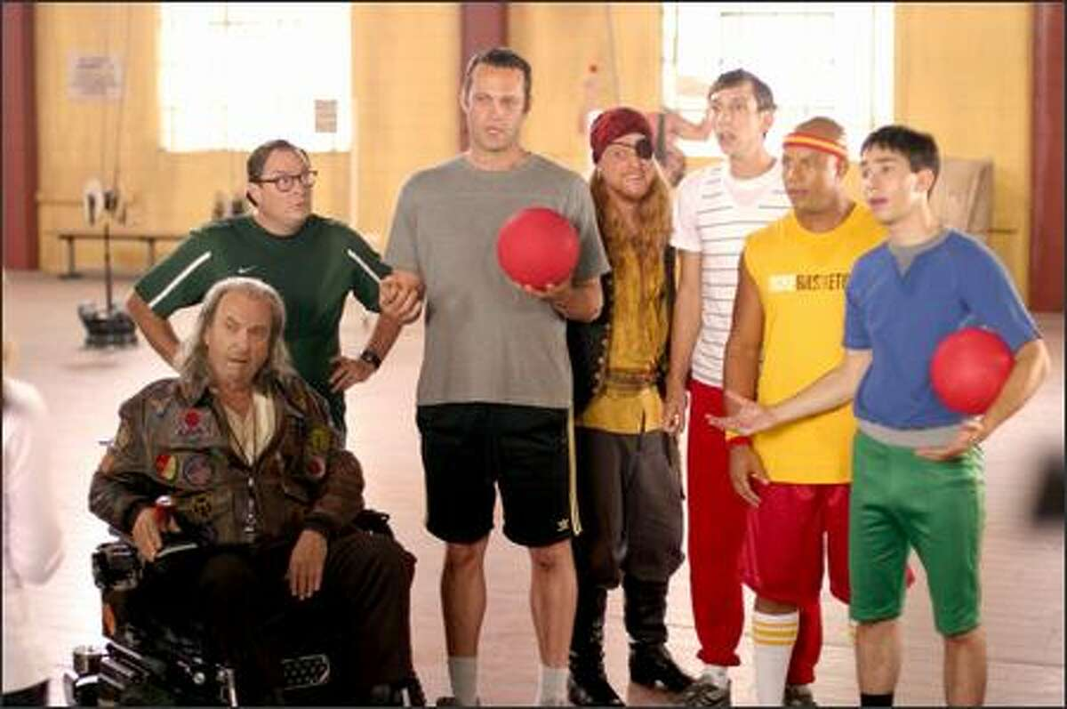 From left, Rip Torn, Stephen Root, Vince Vaughn, Alan Tudyk, Joel David Moore, Chris Williams and Justin Long are a band of social misfits who compete in the ultimate dodgeball competition to save their gym.