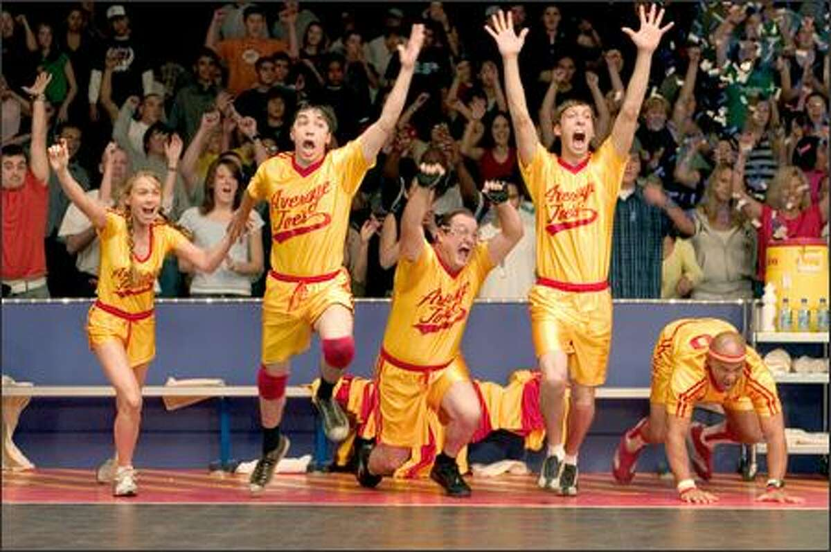 From left, Christine Taylor, Justin Long, Stephen Root, Joel David Moore and Chris Williams exult after a key play in the ultimate dodgeball competition.