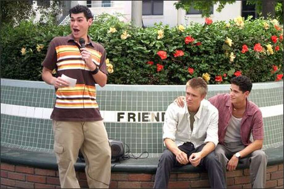 David (Brad Bufanda, left) and Ryan (J.D. Pardo, right) are Austin's (Chad Michael Murray) best buddies, but really hardly know him at all. Photo: Warner Brothers