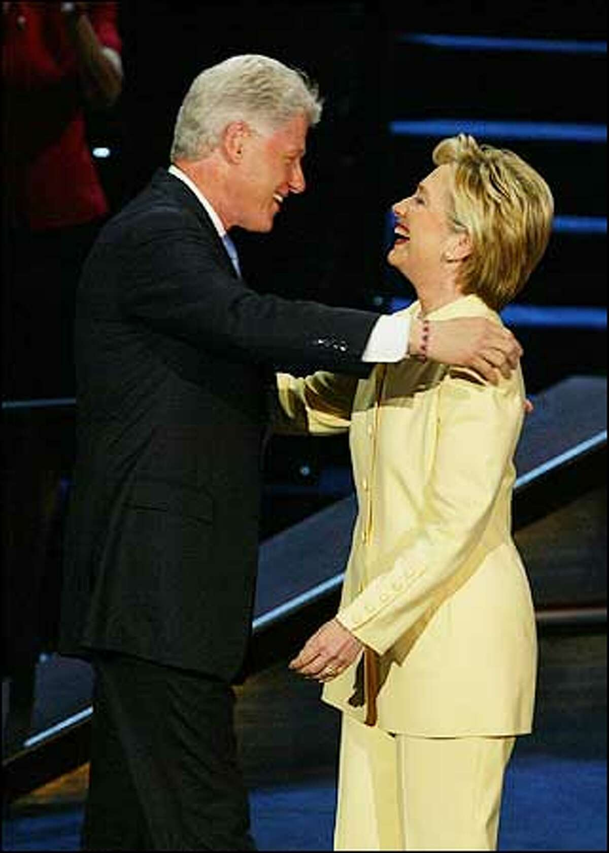 Sen. Hillary Rodham Clinton, D-N.Y., introduced her husband, former President Bill Clinton, at the Democratic National Convention.