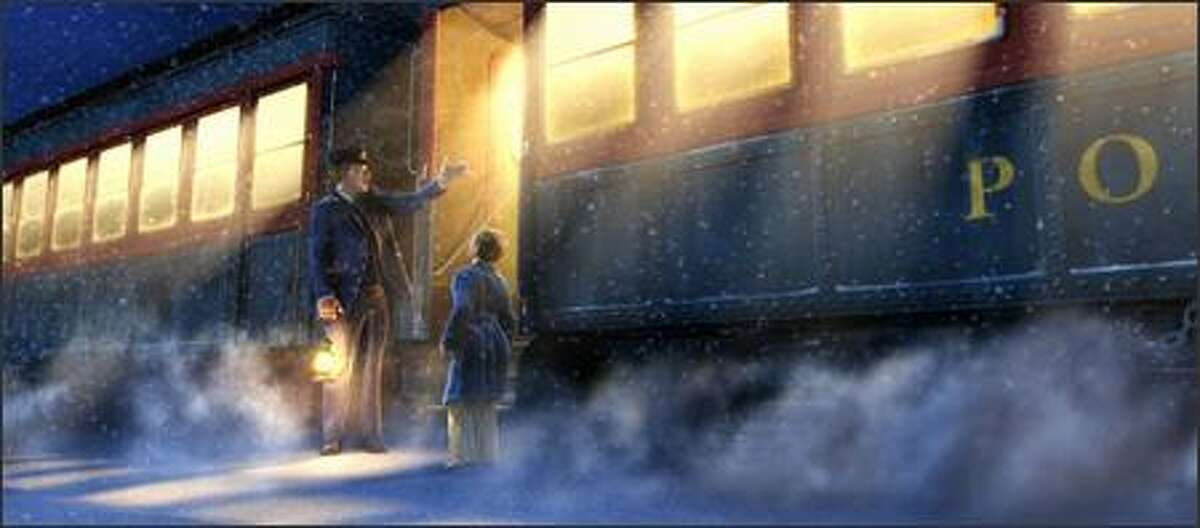 The boy rushes outside, clad only in his pajamas and slippers, and is met by the train?•s conductor who seems to be waiting just for him.