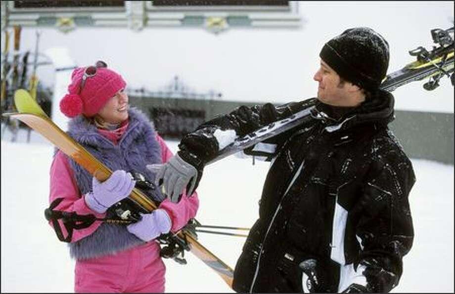 Bridget Jones (Renée Zellweger) and her boyfriend Mark Darcy (Colin Firth) go skiing on the Alps. Photo: Universal Studios