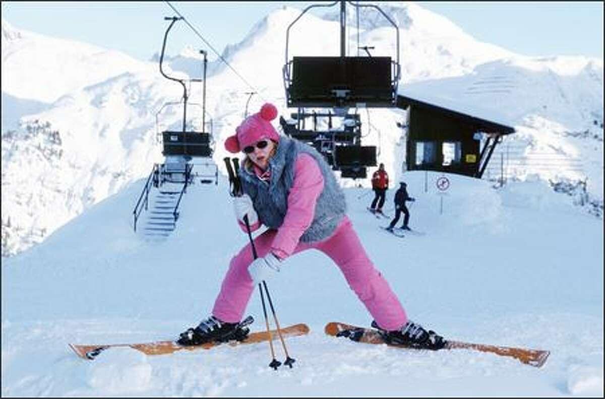Bridget Jones (Renée Zellweger) attempts to ski in the Alps.