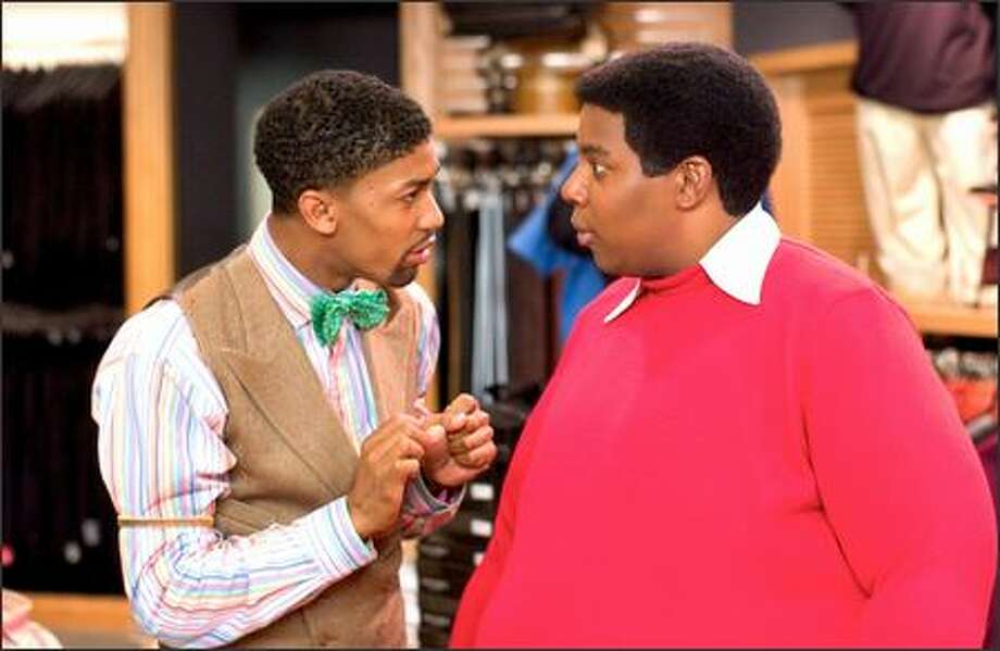 "Fat Albert (Kenan Thompson, right) is impressed with the ""Big and Tall"" clothing options offered by a persistent salesman (Derek ""Mr. Bentley"" Watkins). Photo: Twentieth Century Fox"