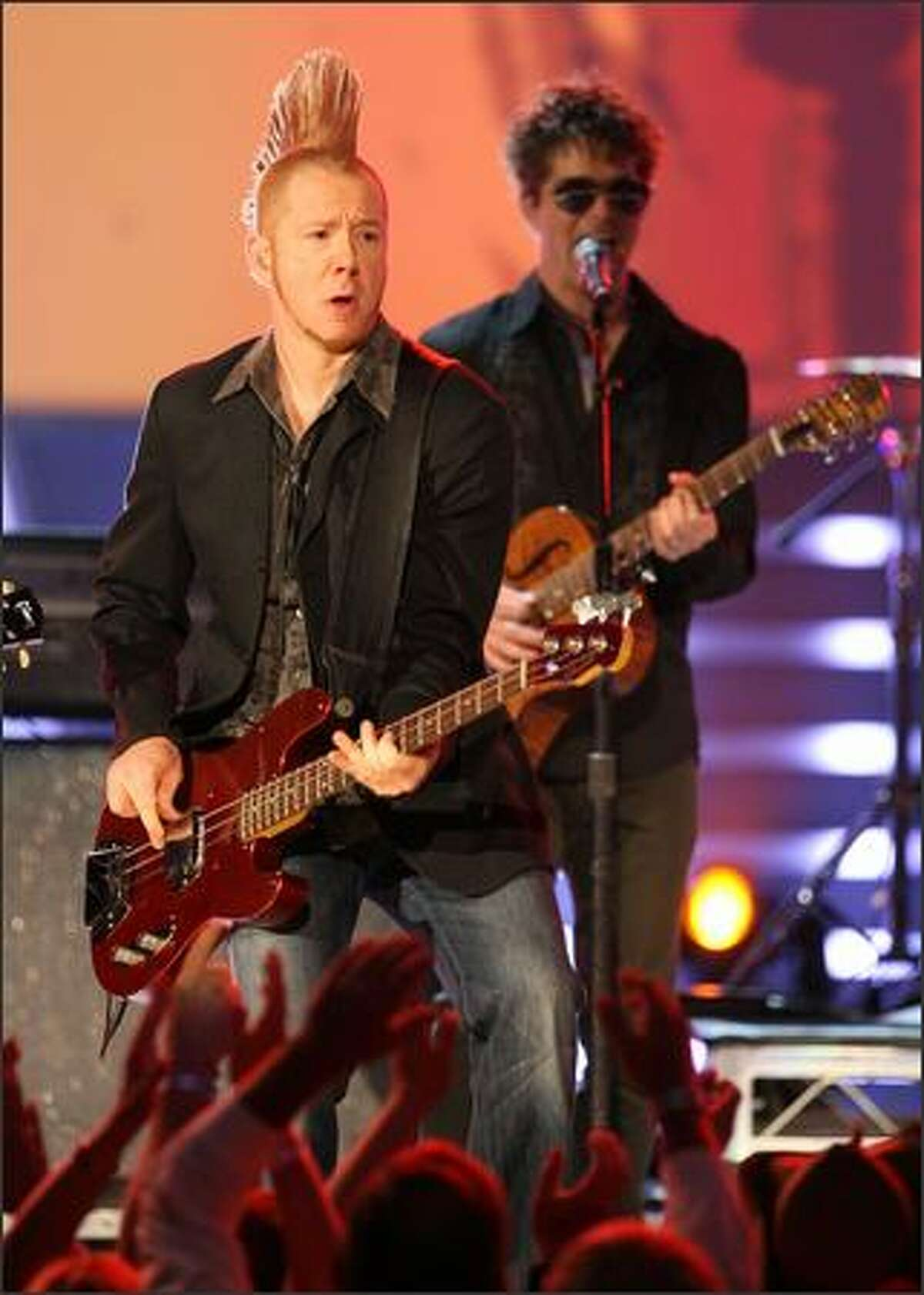 Musician Aden Bubeck performs onstage with Miranda Lambert during the 43rd annual Academy of Country Music Awards.