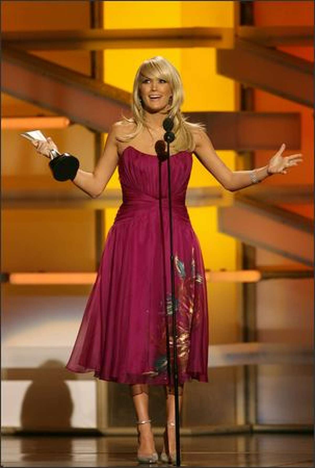 Singer Carrie Underwood accepts the award for Top Female Vocalist onstage during the 43rd annual Academy of Country Music Awards.