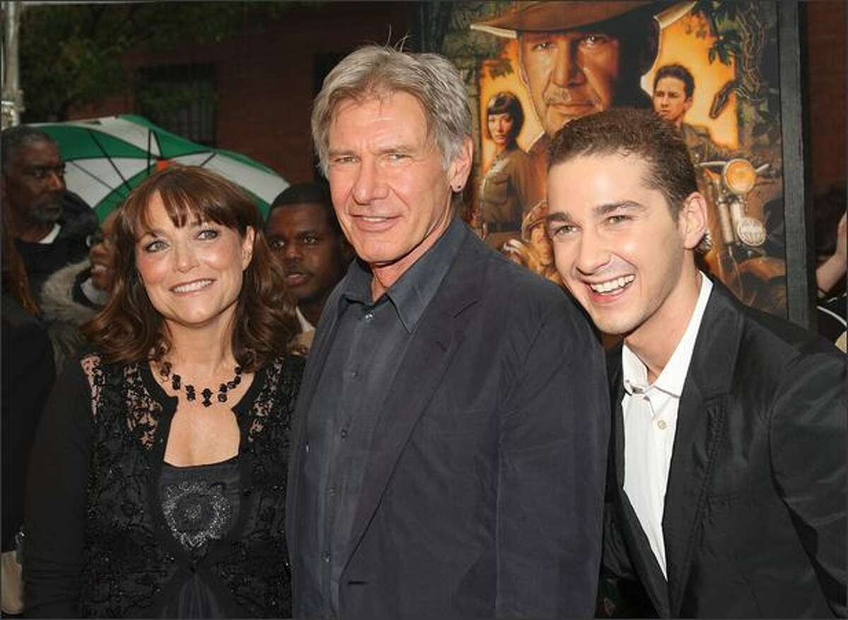 (L-R) Actors Karen Allen, Harrison Ford, and Shia LaBeouf attend the New York premiere of