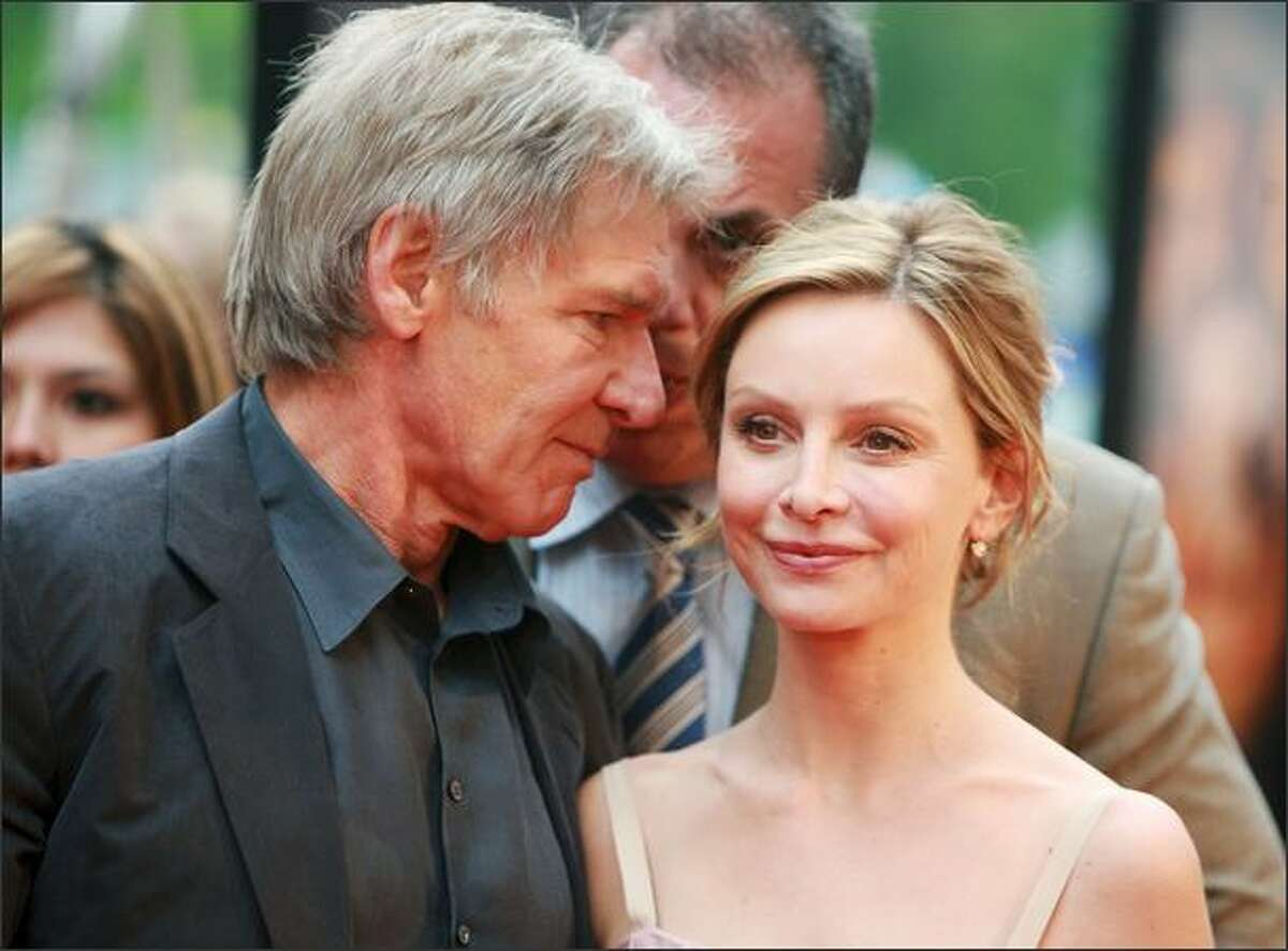 Actors Harrison Ford (L) and Calista Flockhart attend the New York premiere of