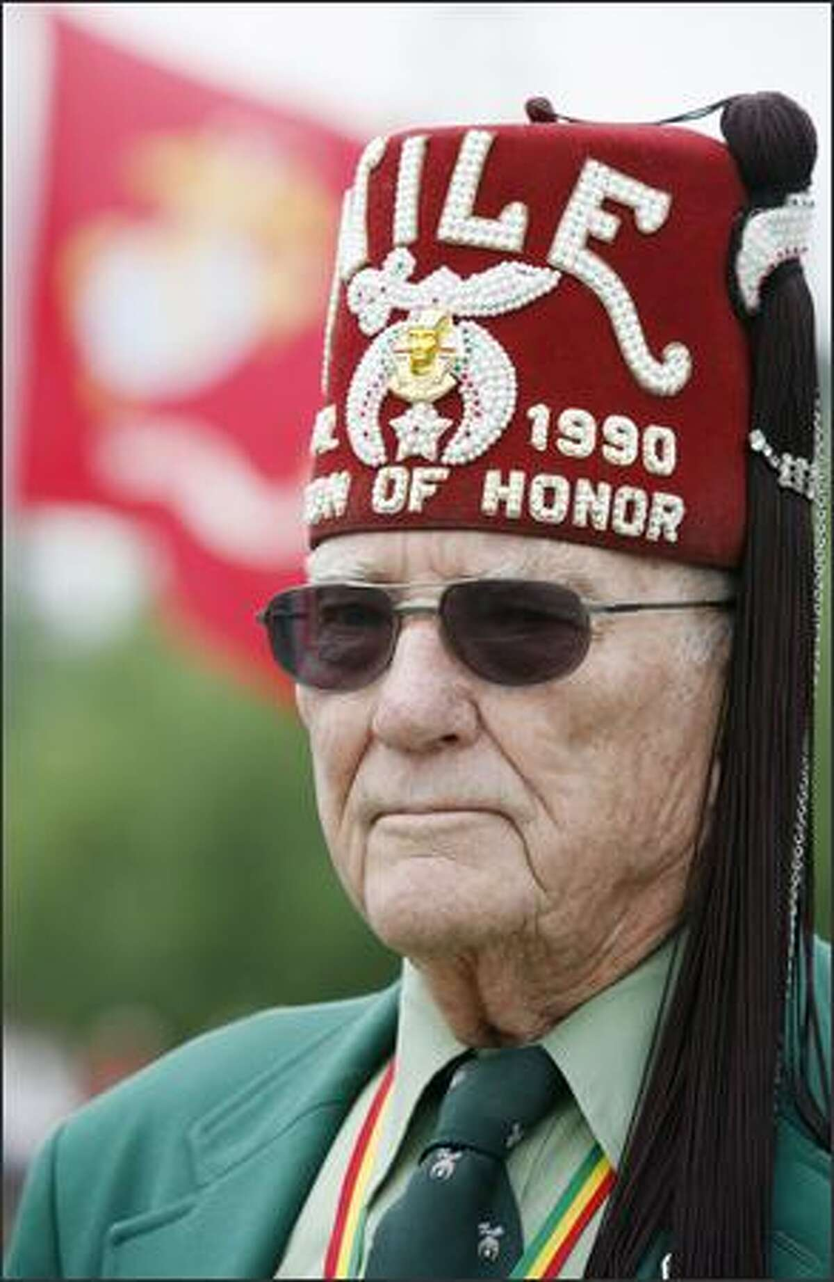 Virgil Mudd, a veteran of the Army Air Corps in World War II, represented the Legion of Honor in a color guard at Memorial Day ceremonies at Tahoma National Cemetery.