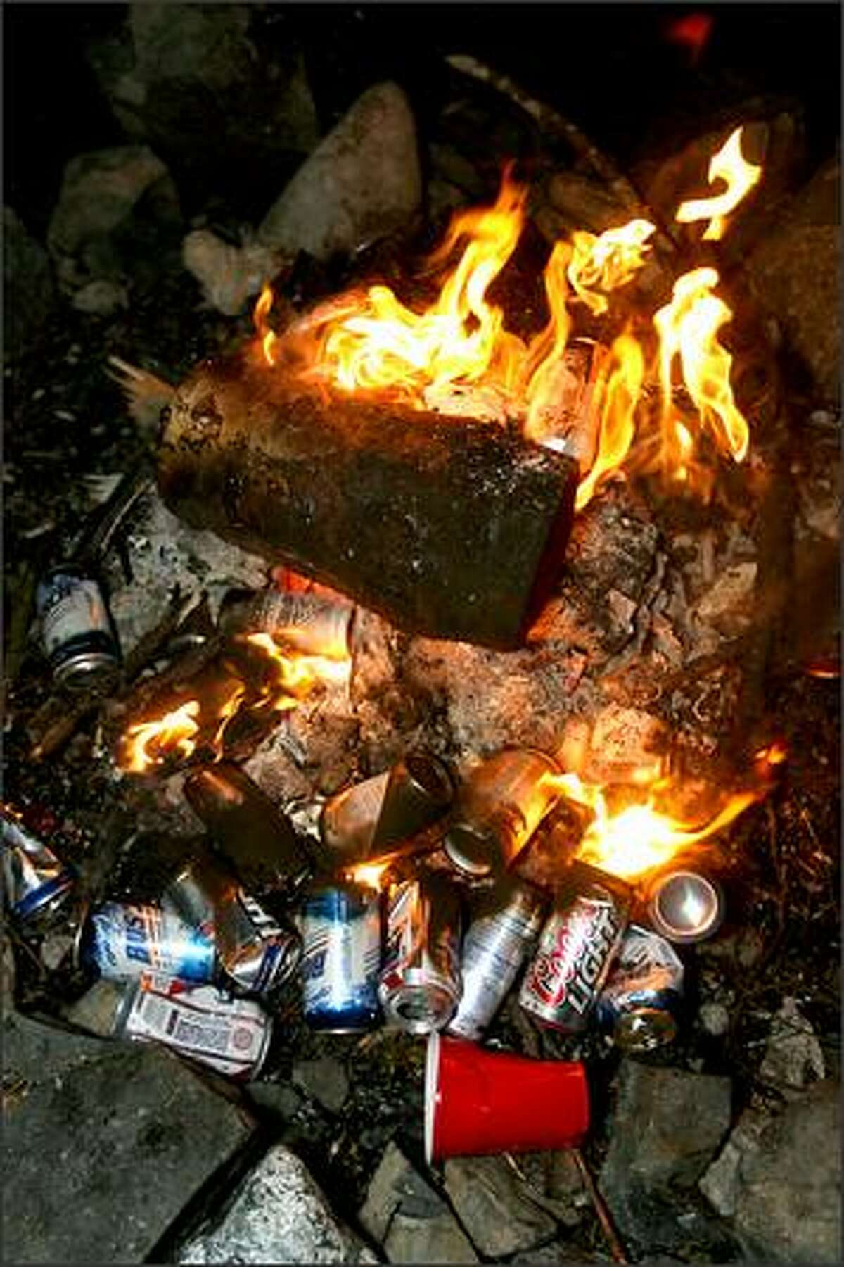 Some of the remnants of the party and bonfire found by the