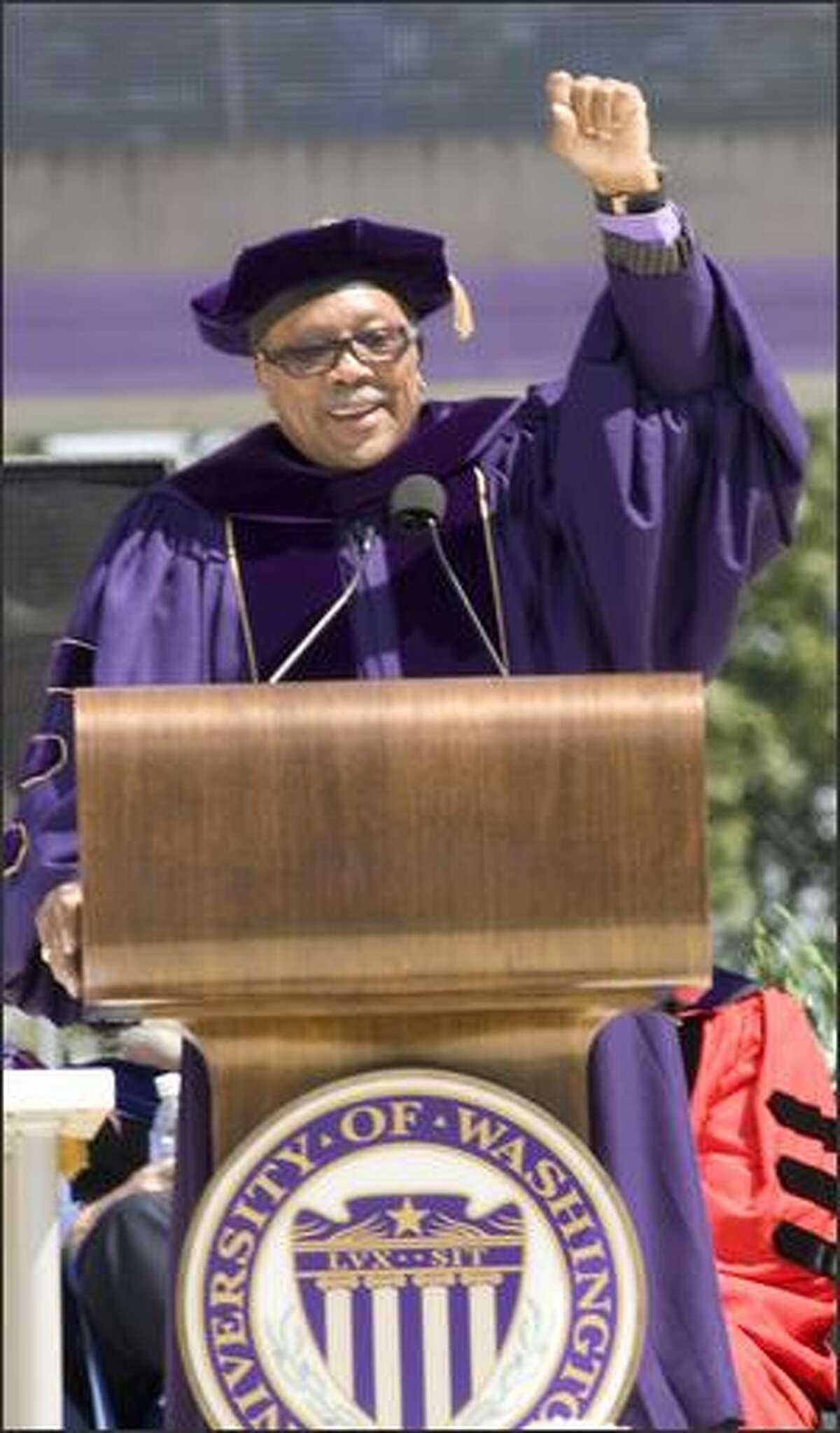 Dr. Quincy Jones during his commencement speech.